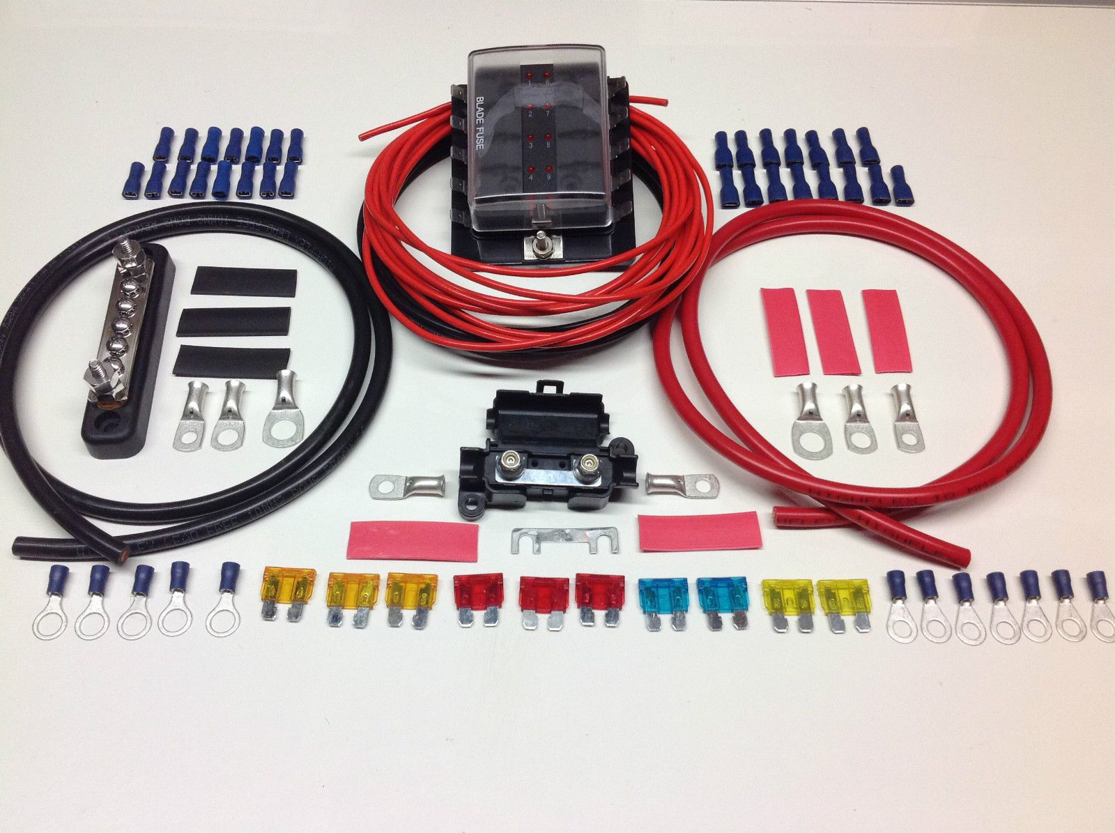 10 way fuse box distribution kit with negative bus bar cable terminals &  fuses  simply 12 volt